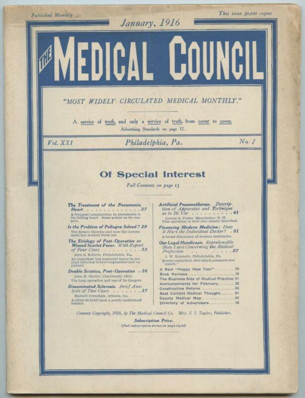 Jan. 1916 Philadelphia Medical Council Journal Medicine Doctors Trade Magazine
