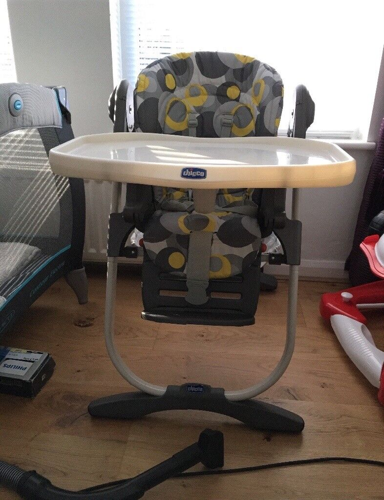 Chicco Polly highchair, reclining baby chair, height adjustable