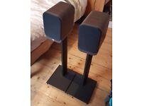 Q Acoustics 3010 Pair of Bookshelf Speakers (Walnut) & Matching 3000ST Speaker Stands - £120 ONO