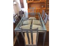 Dining table and 6 chairs Glass and silver metal