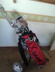 Mac greger left handed golf clubs and trolley 9 irons. 2 woods 1 driver & putter.