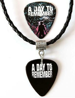 A Day to Remember Guitar Pick Double Sided Black Necklace + Plectrum