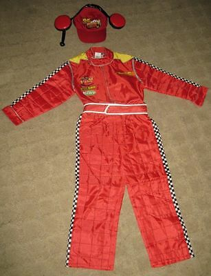 New Disney Store Cars Lightning McQueen Teen Costume & hat M Medium Car Racing](Cars Mcqueen Costume)