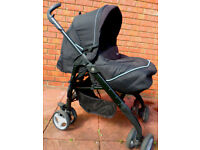 SilverCross Chic Black 3D pushchair -black suede effect trim - ex cond. collect M'bro £60