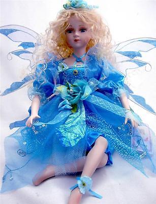 PORCELAIN FAIRY DOLL SKY BLUE DRESS 16' H LIMITED EDITION