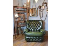 Thomas Lloyd Chesterfield Vintage Leather Recliner Armchair Green
