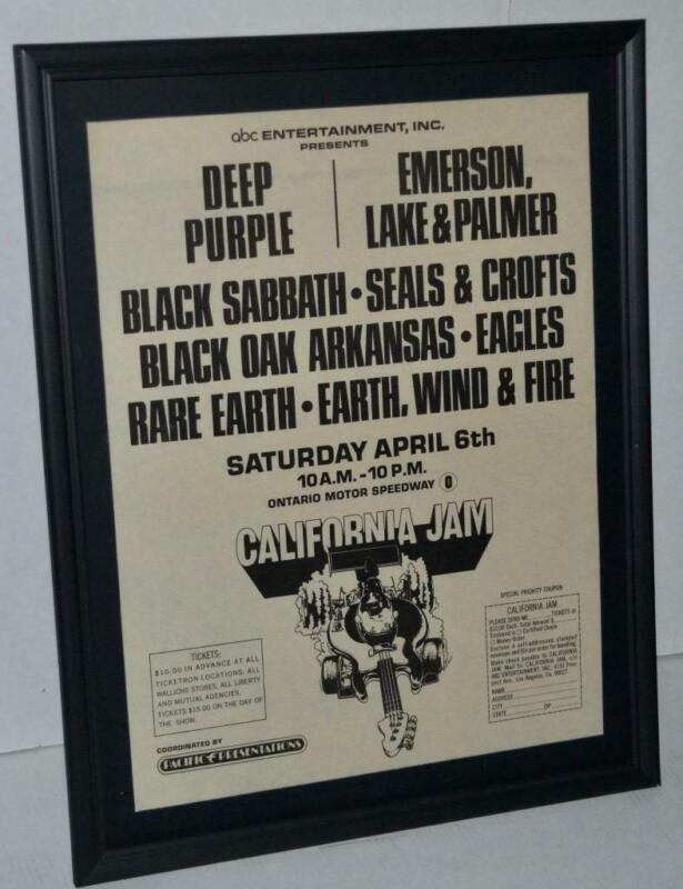 CAL JAM 1974 DEEP PURPLE BLACK SABBATH EAGLES ELP CONCERT FRAMED POSTER / AD