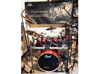Pearl Vision Ruby Fade Drum Set (Inc Cymbals, Stands, rack,+ cases)
