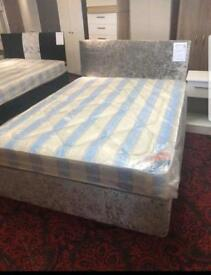 Crushed Velvet Beds with mattress & headboard single double & king size
