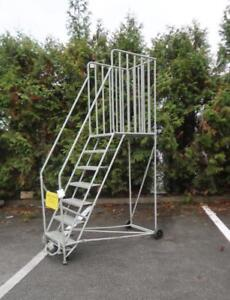 CANWAY Mobile 7 Step Ladder Stand With Handrails
