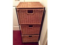 Sturdy chest of drawers , iron and wicker , drawers unit