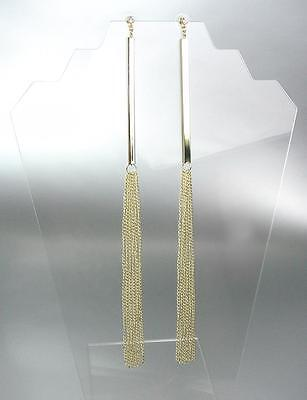 CHIC & SEXY Extra Long Gold Metal Bar Chains Crystal Shoulder Duster -