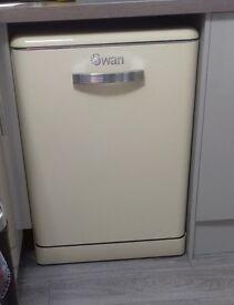 Swan 'Retro' Dishwasher with Cutlery Basket CREAM