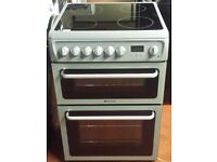 Hotpoint 60 cm wide double oven and grill electric ceramic cooker in grey