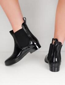 Chelsea black patent ankle rain boots wellies