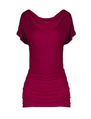 SEJORA Women's Burgundy Boatneck Convertible Short Sleeve Do