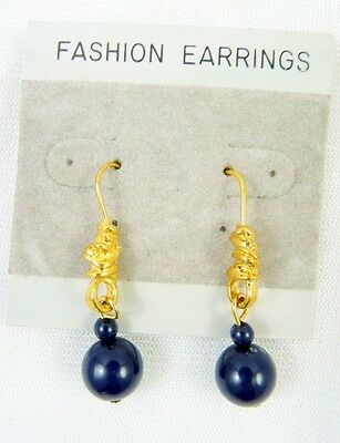 WHOLESALE Goldtone Knot w/ Navy Blue Bead Dangle Hook Earrings- 1 Dozen Pair