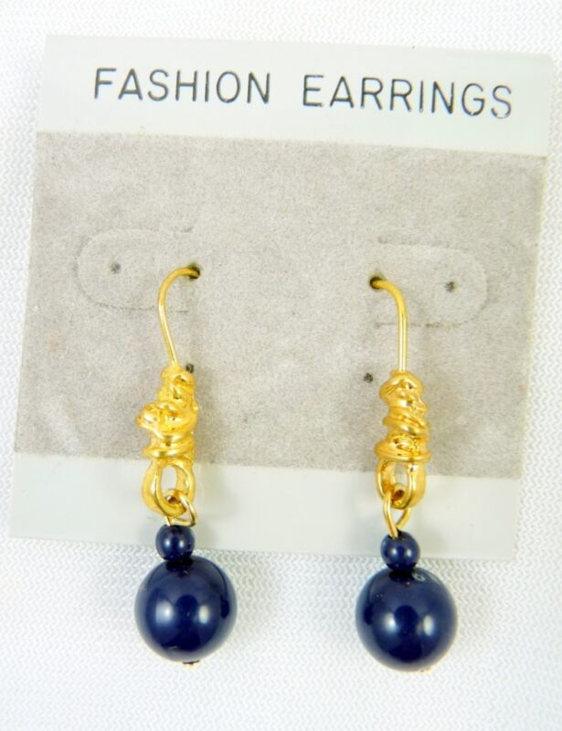 WHOLESALE Goldtone Knot w/ Navy Blue Bead Dangle Hook Earrings- 1 Dozen Pair