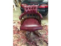 Leather chesterfield captains chair