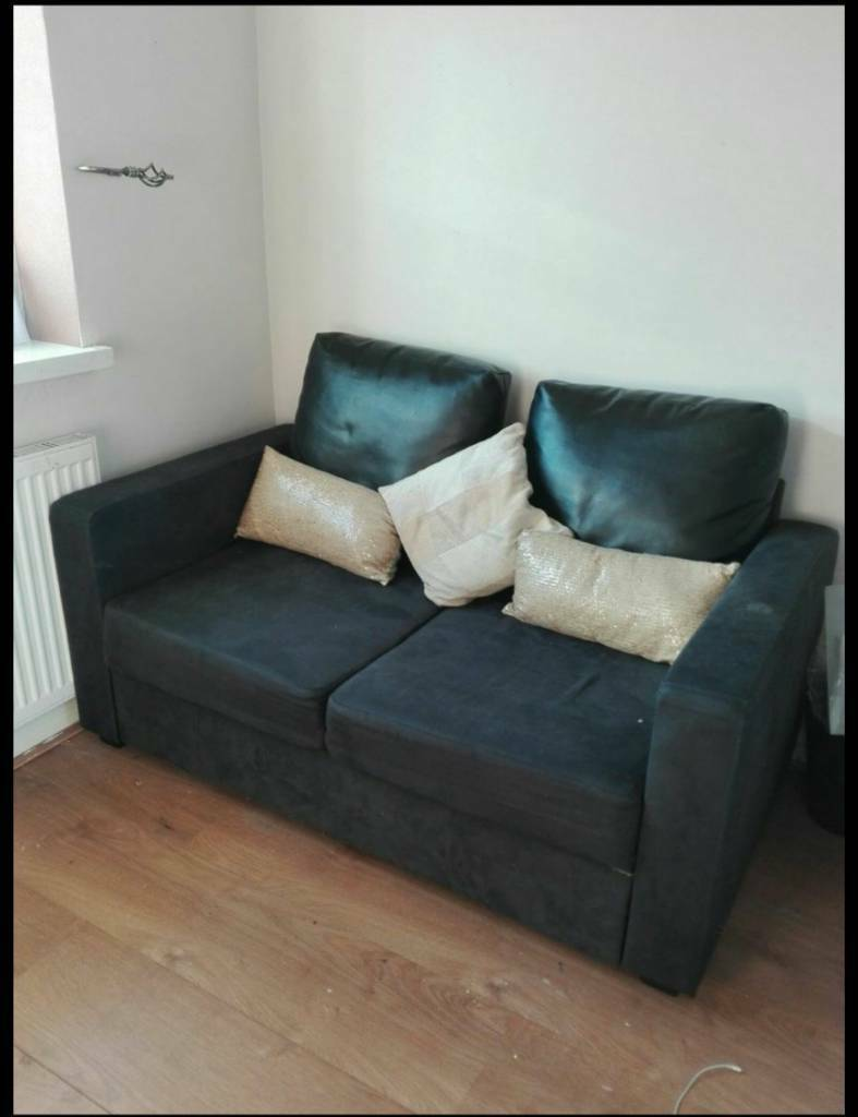 Black Suede 2 Seater Sofa Settee Pull Out Bed Couch In