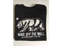 "Vans Kid's ""Off The Wall"" black sweatshirt, size medium."