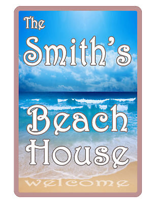 Full House Signs (Personalized OCEAN Beach House Sign Printed YOUR NAME FULL COLOR CUSTOM SIGN#066)