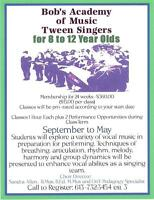 Bob's Music Downtown Pembroke- Tween Singers for 8 to 12 yrs