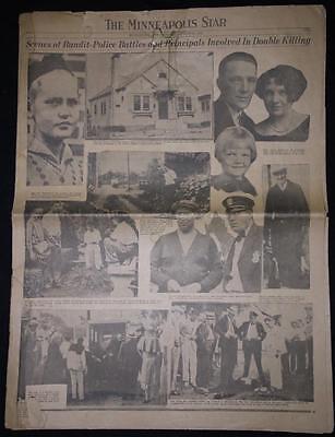 Antique THE MINNEAPOLIS TRIBUNE August 10, 1931 Double Homicide Police / Bandit