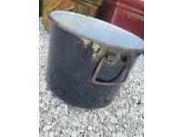 🌴 Genuine Old Vintage Antique Navy Enamel Bucket Garden Trough Plant Pot 🌴