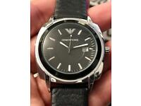 Brandnew Men's Emporio Armani Leather Watch with Date cheap Valentines Day sale Gift gents boy wrist