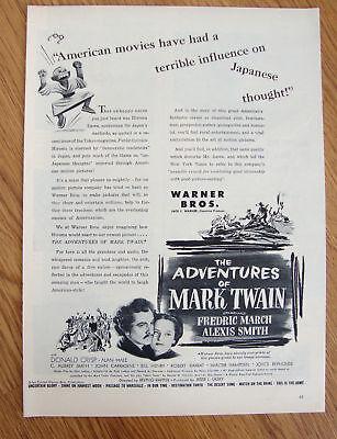 1944 Movie Ad The Adventures of Mark Twain Fredrick March Alexis Smith