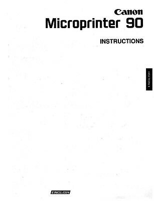 Canon Microprinter 90 Microfilm Reader Printer Owners Manual