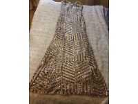Gold sequinned bridesmaid dress