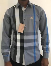 Burberry Mens Shirt Checkered Long Sleeve Blue New Grey Slim Fit 2017 Designer Joblot Size S M L XL