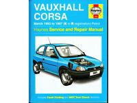 HAYNES VAUXHALL CORSA SERVICE & REPAIR MANUAL 1993 - 1997 PETROL MODELS