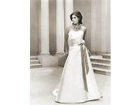 Sassi Holford Ivory Duchesse Satin Wedding Dress & Lace Bolero Size 10