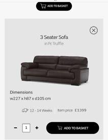 Sofa vantage (sofology) 4 pieces suite. 100% REAL leather. No PVC. No substitutes.