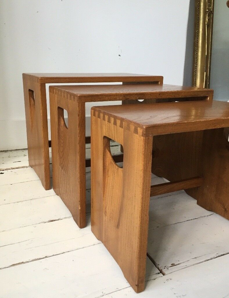 Rare Vintage Ercol Nest Stacking Coffee Side Tables In