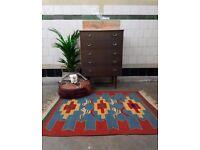 NIOMI - Antique Traditional Vintage Persian Kilm Wool 117 x 92cm Handmade Carpet Rugs