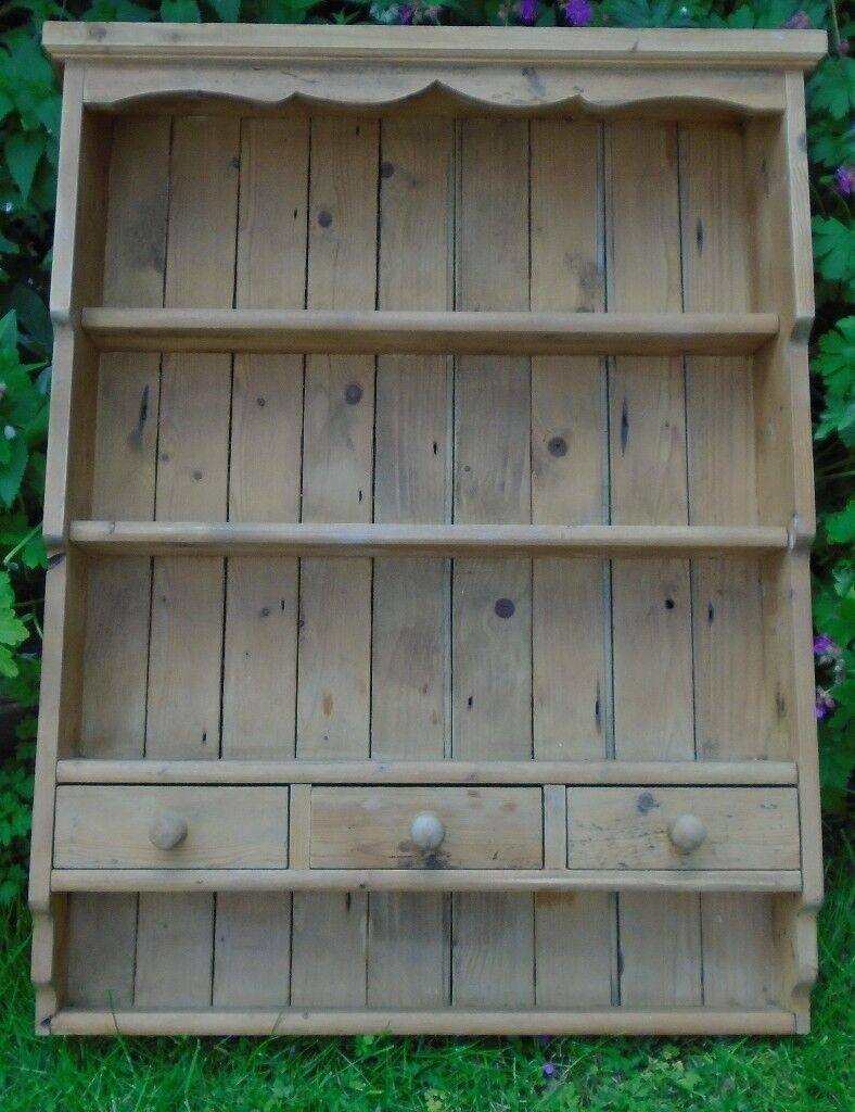 Vintage Pine Country Kitchen Dresser Style Wall Unit
