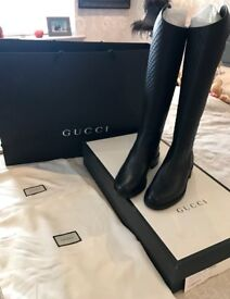 BNIB STUNNING GUCCI GUCCISSIMA Leather Back-Zip Riding boots 100% AUTHENTIC