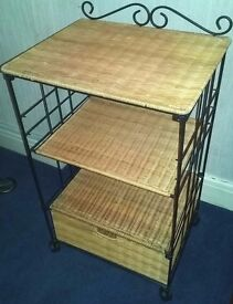 Stand/ Side Table, 3 Tiers w/Drawer, Wicker and Metal, Excellent Condition
