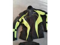 Motorbike jacket and trousers and gloves