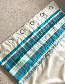 """Pair of Cream & Teal/Turquoise Stripe Faux Silk Eyelet Lined Curtains - Fab Condition - 90"""" x 90"""""""