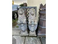 2 Large & Heavy Sitting proud lion solid stone garden statue