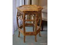 Cane and Bamboo plant stand occasional table for hall or conservatory