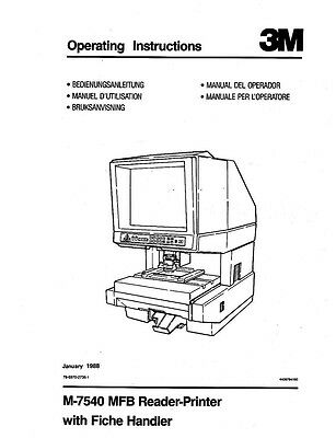 3m M-7540 Mfb Microfilm Reader Printer Owners Manual
