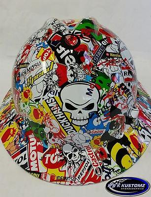 Racing Stickerbomb Pattern Full Brim New Custom Msa V-gard Hard Hat Wfastrac