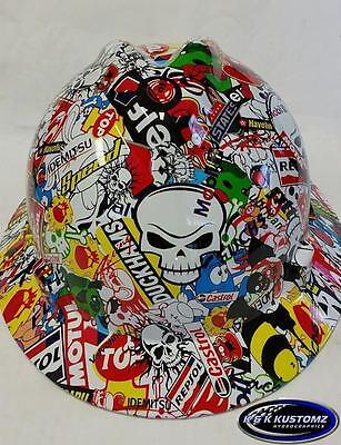 Racing Stickerbomb Pattern Full Brim New Custom Msa V-gard Hard Hat Wfastrac