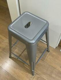 Silver metal stools x 2